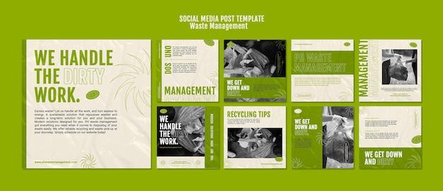 Zarządzanie odpadami szablon projektu postów w mediach społecznościowych
