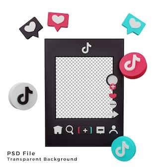 Zasób szablonu makiety 3d tiktok z ilustracją ikony logo wysokiej jakości