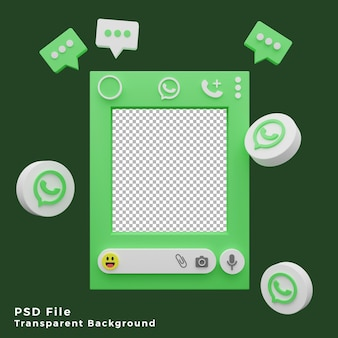 Zasób szablonu makiety 3d whatsapp z ilustracją ikony logo wysokiej jakości