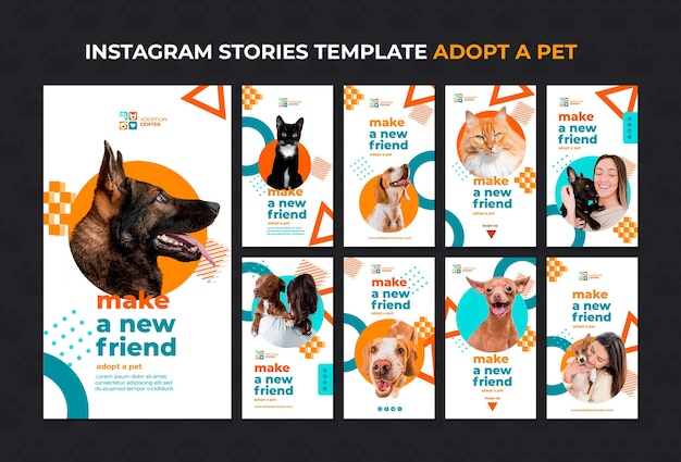 Zastosuj szablon opowieści o instagramie zwierzaka