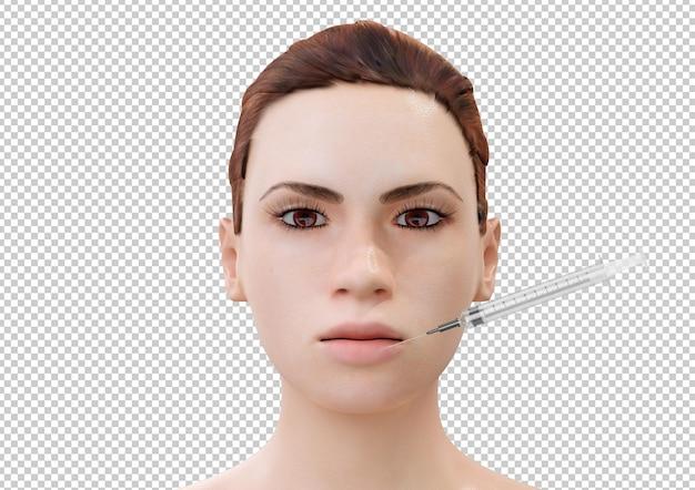 Zastrzyk botoksu w usta młodej kobiety kreskówka na białym tle. renderowanie 3d