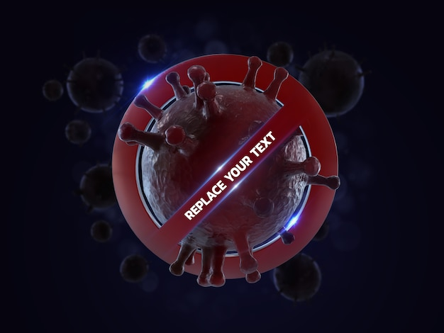Zatrzymaj makietę renderowania wirusów corona 3d renderowania