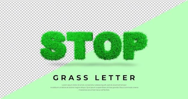 Zatrzymaj renderowanie liter trawy