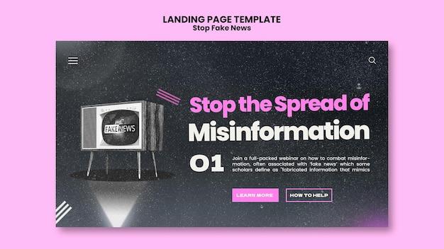 Zatrzymaj szablon strony docelowej fałszywych wiadomości
