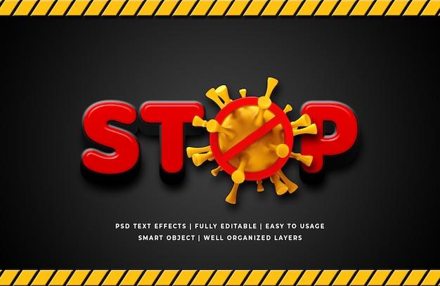 Zatrzymaj wirus corona 3d efekt stylu tekstu