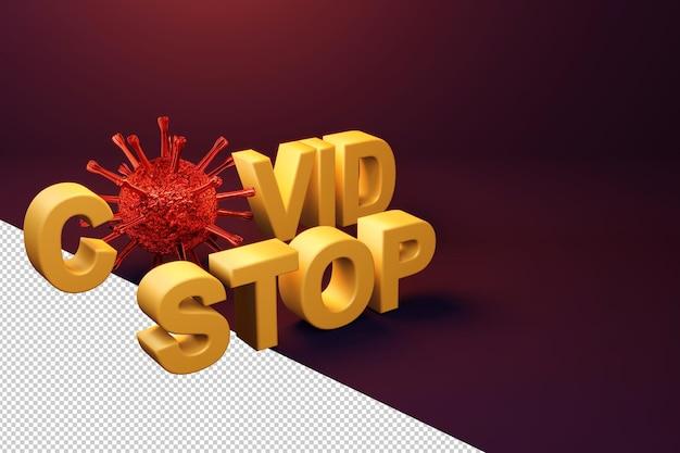 Zatrzymaj wirusa covid-19 w koncepcji renderowania 3d