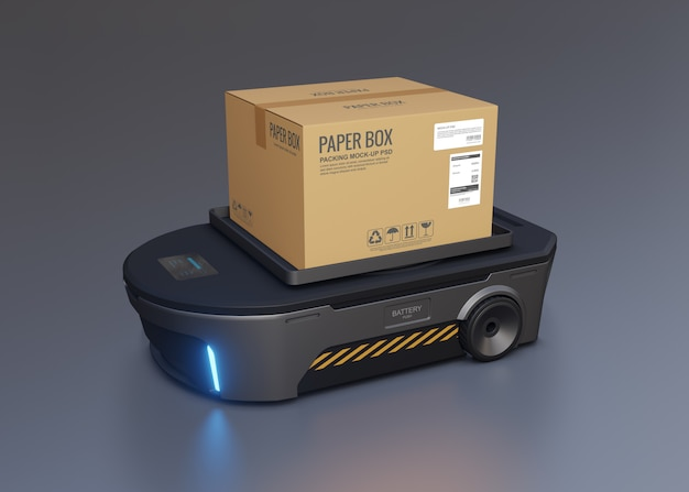 Zautomatyzowana skrzynia ładunkowa pojazdu z przewodnikiem.