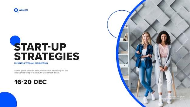 Zawartość kobiety biznesu na okładce start-up