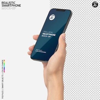Zbliżenie dłoni trzymającej makietę smartfona