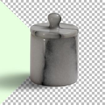Zbliżenie marmurowego kubka na przezroczystym tle