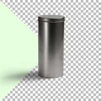 Zbliżenie metalowego pojemnika na przezroczystym tle