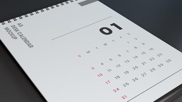 Zbliżenie minimalistyczny kalendarz makieta