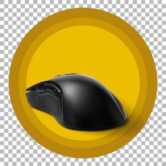 Zbliżenie na czarną mysz do gier na przezroczystym tle