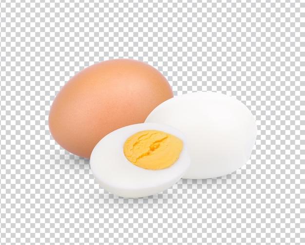 Zbliżenie na gotowane jajko kurze na białym tle