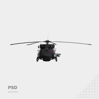 Zbliżenie na helikopter 3d na białym tle premium psd