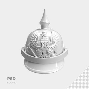 Zbliżenie na hełm wojownika 3d na białym tle premium psd