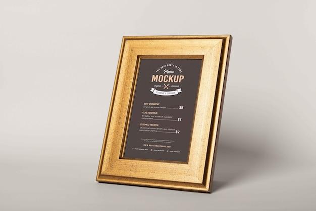 Zbliżenie na makieta menu w ramce