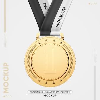 Zbliżenie na makieta złoty medal na białym tle
