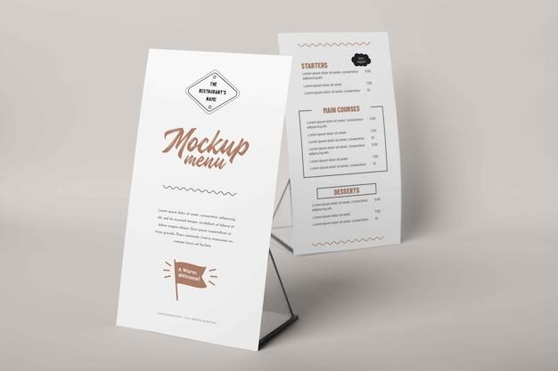 Zbliżenie na makietę menu z metalowym uchwytem
