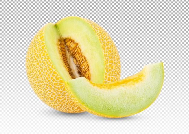 Zbliżenie na melona i plasterek melona na białym tle