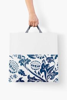 Zbliżenie na projekt makiety torby na zakupy