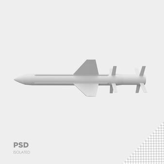 Zbliżenie na rakietę na białym tle premium psd