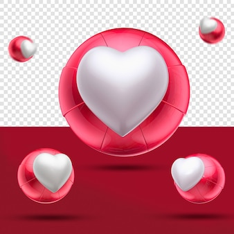 Zbliżenie na serce 3d jak czerwona piłka