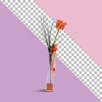 Zbliżenie na sztuczny kwiat na szkle