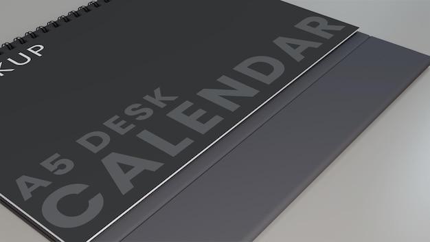 Zbliżenie poziomy kalendarz biurkowy makieta
