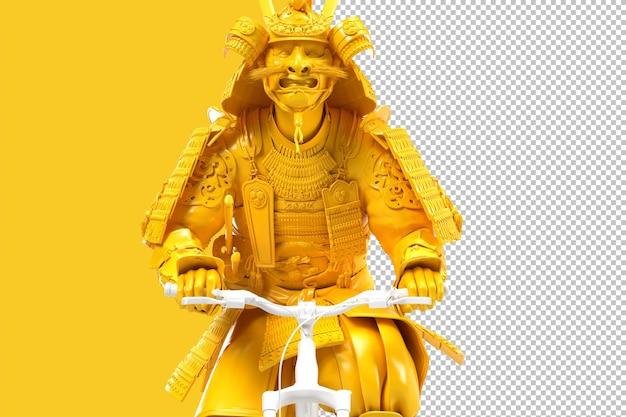 Zbliżenie: samuraj w pełnej zbroi na rowerze. ilustracja 3d