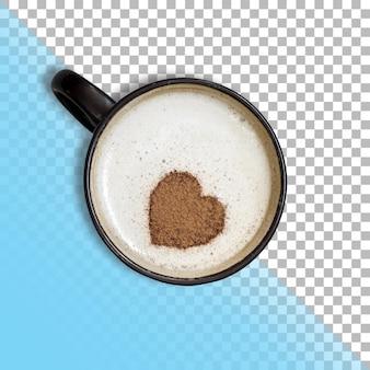 Zbliżenie widok cappuccino z symbolem serca na przezroczystym tle.