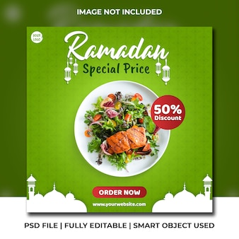 Zdrowa sałatka z kurczakiem i wegańskie jedzenie instagram banner