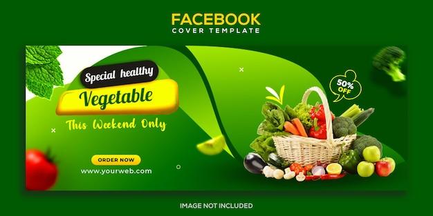 Zdrowa świeża żywność warzywna i spożywcza na okładkę na facebooku i szablon banera internetowego