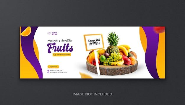 Zdrowa żywność ekologiczna warzywa owoce i artykuły spożywcze media społecznościowe facebook świeża okładka i baner internetowy