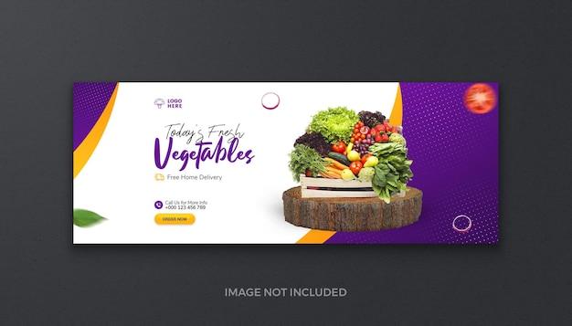 Zdrowa żywność ekologiczna warzywa owoce i artykuły spożywcze świeże media społecznościowe okładka na facebooku i baner internetowy