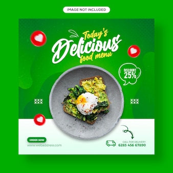 Zdrowa żywność i warzywa w mediach społecznościowych oraz szablon banera postu na instagramie