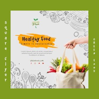 Zdrowa żywność kwadratowa ulotka z obrazem