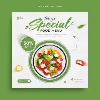 Zdrowa żywność w mediach społecznościowych post banner i kwadratowy szablon ulotki promocyjnej na instagramie