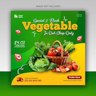 Zdrowa żywność ważna promocja w mediach społecznościowych i szablon banera postu na instagram