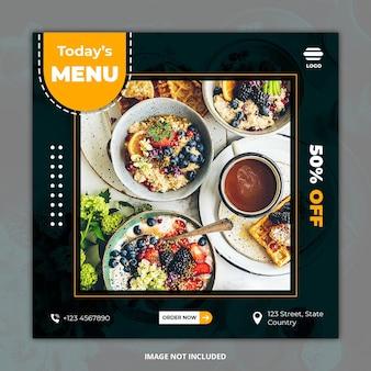 Zdrowe jedzenie mediów społecznościowych szablony banerów postu