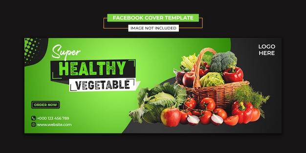 Zdrowe jedzenie warzyw mediów społecznościowych i szablon okładki