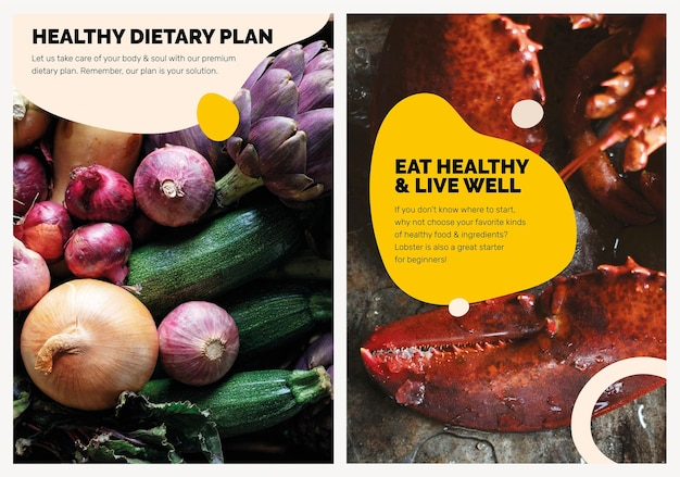 Zdrowe odżywianie szablon psd marketing żywności plakat zestaw