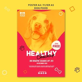 Zdrowy mały szczeniak jedzenie reklama szablon plakat