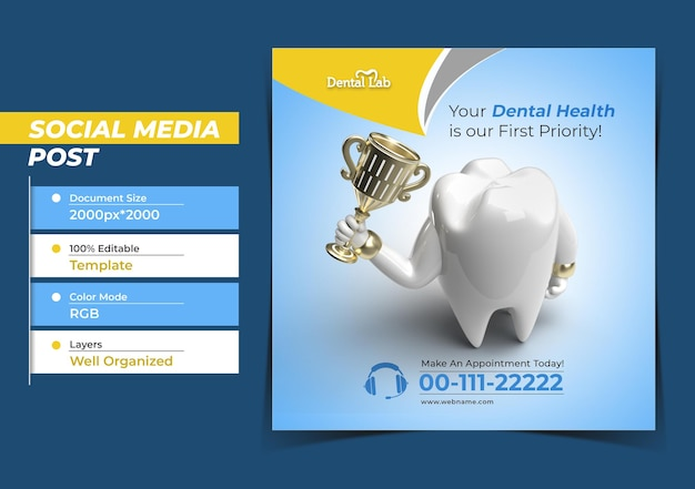 Zęby z koncepcją implantów dentystycznych trophy instagram post banner