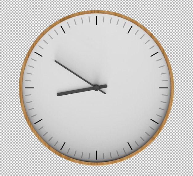 Zegar ścienny na białym tle. drewniany zegar. ładne meble do wnętrz. przezroczyste tło. widok izometryczny z przodu. premium 3d.