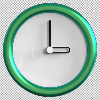 Zegar ścienny na białym tle. metalowy zegar ładne meble do wnętrz. przezroczyste tło. widok izometryczny z przodu. premium 3d.