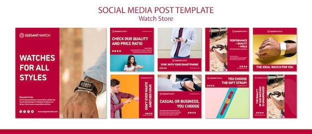 Zegarki dla wszystkich stylów szablonów mediów społecznościowych