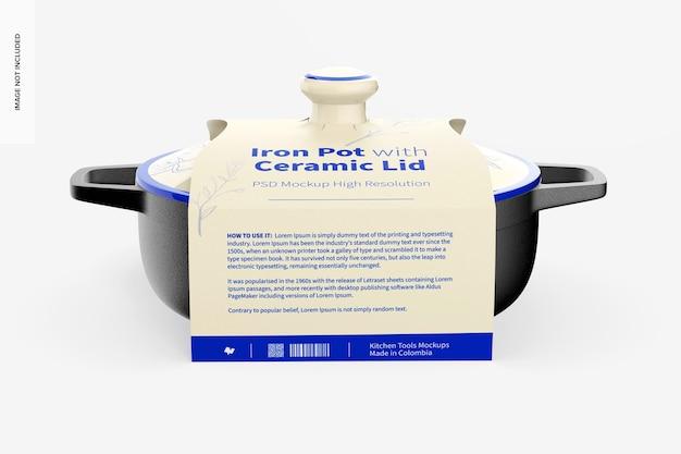 Żelazny garnek z ceramiczną pokrywką makieta