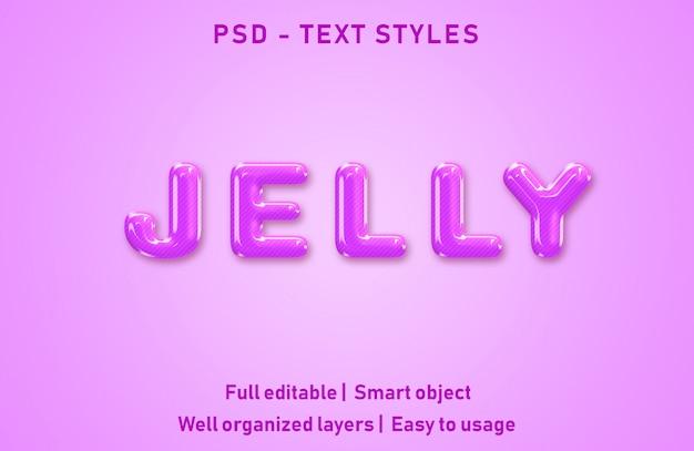 Żelowe efekty tekstowe w stylu edytowalnym psd