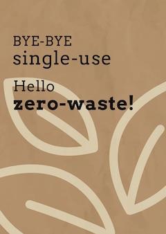 Zero odpadów wektor szablon plakatu w tonacji ziemi